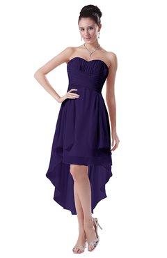 ColsBM Victoria Royal Purple Hawaiian A-line Sleeveless Chiffon Tea Length Ruching Evening Dresses