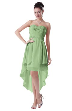 ColsBM Victoria Sage Green Hawaiian A-line Sleeveless Chiffon Tea Length Ruching Evening Dresses