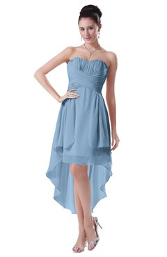 ColsBM Victoria Sky Blue Hawaiian A-line Sleeveless Chiffon Tea Length Ruching Evening Dresses