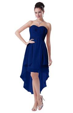 ColsBM Victoria Sodalite Blue Hawaiian A-line Sleeveless Chiffon Tea Length Ruching Evening Dresses