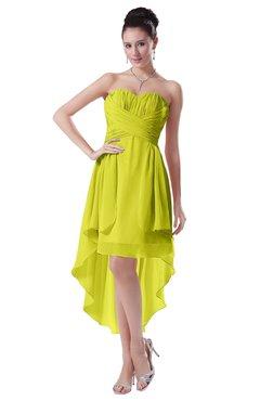 ColsBM Victoria Sulphur Spring Hawaiian A-line Sleeveless Chiffon Tea Length Ruching Evening Dresses