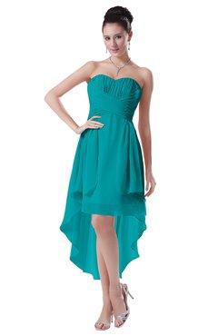 ColsBM Victoria Teal Hawaiian A-line Sleeveless Chiffon Tea Length Ruching Evening Dresses