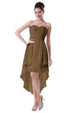 ColsBM Victoria Truffle Hawaiian A-line Sleeveless Chiffon Tea Length Ruching Evening Dresses
