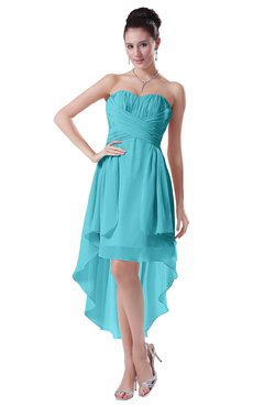 ColsBM Victoria Turquoise Hawaiian A-line Sleeveless Chiffon Tea Length Ruching Evening Dresses