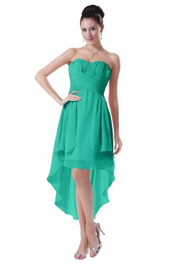 ColsBM Victoria Viridian Green Hawaiian A-line Sleeveless Chiffon Tea Length Ruching Evening Dresses
