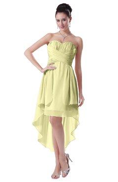 ColsBM Victoria Wax Yellow Hawaiian A-line Sleeveless Chiffon Tea Length Ruching Evening Dresses