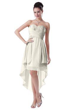 ColsBM Victoria Whisper White Hawaiian A-line Sleeveless Chiffon Tea Length Ruching Evening Dresses