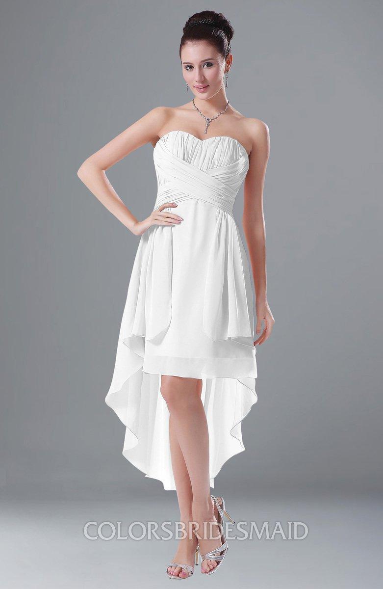7c0a86e1f2c0 ColsBM Victoria White Hawaiian A-line Sleeveless Chiffon Tea Length Ruching  Evening Dresses