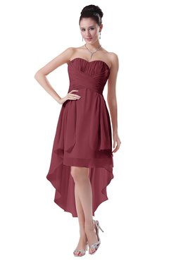 ColsBM Victoria Wine Hawaiian A-line Sleeveless Chiffon Tea Length Ruching Evening Dresses