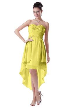 ColsBM Victoria Yellow Iris Hawaiian A-line Sleeveless Chiffon Tea Length Ruching Evening Dresses