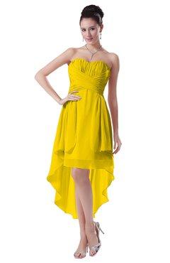 ColsBM Victoria Yellow Hawaiian A-line Sleeveless Chiffon Tea Length Ruching Evening Dresses