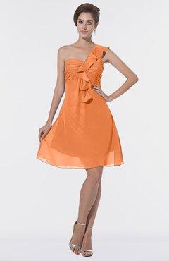 e0c6a416b238 ColsBM Emmy Mango Romantic One Shoulder Sleeveless Backless Ruching  Bridesmaid Dresses