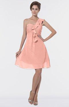 321e318c38e8 ColsBM Emmy Peach Romantic One Shoulder Sleeveless Backless Ruching  Bridesmaid Dresses