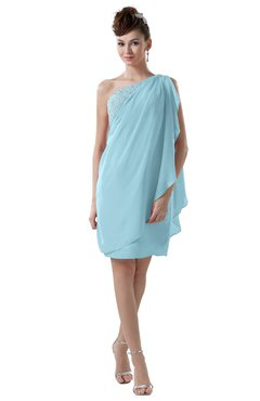 ColsBM Layla Aqua Informal Sheath Backless Chiffon Knee Length Paillette Homecoming Dresses