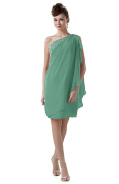 ColsBM Layla Beryl Green Informal Sheath Backless Chiffon Knee Length Paillette Homecoming Dresses