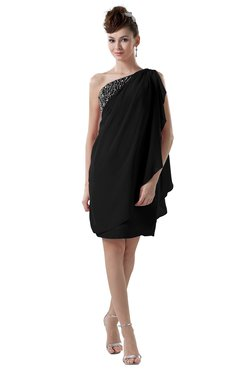 ColsBM Layla Black Informal Sheath Backless Chiffon Knee Length Paillette Homecoming Dresses