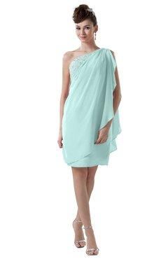 ColsBM Layla Blue Glass Informal Sheath Backless Chiffon Knee Length Paillette Homecoming Dresses