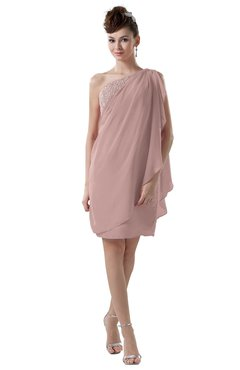 ColsBM Layla Blush Pink Informal Sheath Backless Chiffon Knee Length Paillette Homecoming Dresses