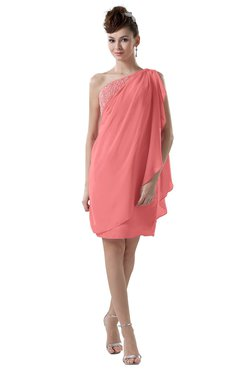 ColsBM Layla Coral Informal Sheath Backless Chiffon Knee Length Paillette Homecoming Dresses