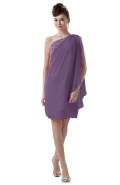 ColsBM Layla Eggplant Informal Sheath Backless Chiffon Knee Length Paillette Homecoming Dresses