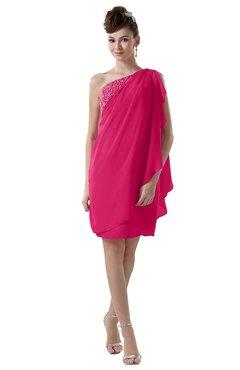 ColsBM Layla Fuschia Informal Sheath Backless Chiffon Knee Length Paillette Homecoming Dresses