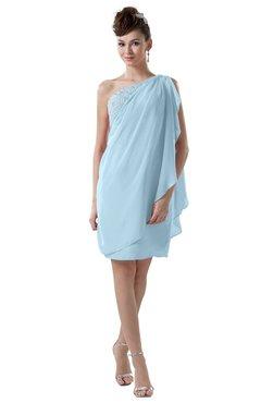 ColsBM Layla Ice Blue Informal Sheath Backless Chiffon Knee Length Paillette Homecoming Dresses