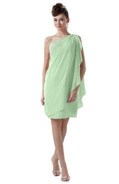 ColsBM Layla Light Green Informal Sheath Backless Chiffon Knee Length Paillette Homecoming Dresses