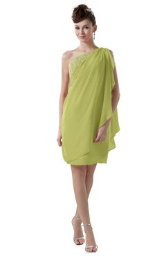 ColsBM Layla Linden Green Informal Sheath Backless Chiffon Knee Length Paillette Homecoming Dresses
