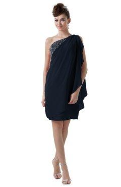 ColsBM Layla Navy Blue Informal Sheath Backless Chiffon Knee Length Paillette Homecoming Dresses