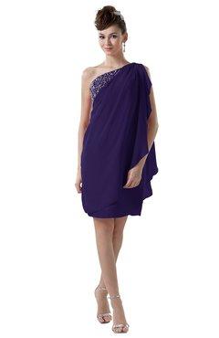 ColsBM Layla Royal Purple Informal Sheath Backless Chiffon Knee Length Paillette Homecoming Dresses