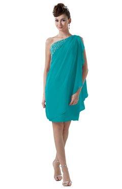 ColsBM Layla Teal Informal Sheath Backless Chiffon Knee Length Paillette Homecoming Dresses