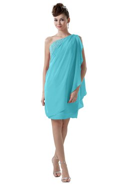 ColsBM Layla Turquoise Informal Sheath Backless Chiffon Knee Length Paillette Homecoming Dresses