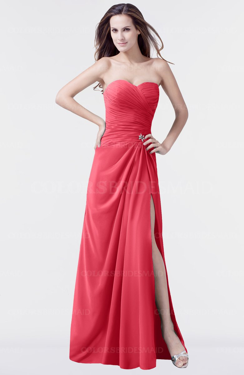 Colsbm Mary Guava Elegant A Line Sweetheart Sleeveless Floor Length Pleated Bridesmaid Dresses