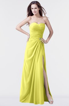 a63bc2d87a ColsBM Mary Pale Yellow Elegant A-line Sweetheart Sleeveless Floor Length  Pleated Bridesmaid Dresses