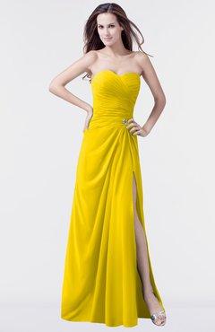 ColsBM Mary Yellow Elegant A-line Sweetheart Sleeveless Floor Length Pleated Bridesmaid Dresses