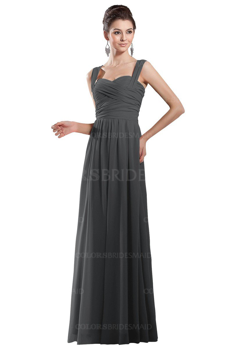 27072fe78faa ColsBM Alena Grey Simple A-line Sleeveless Chiffon Floor Length Pleated Evening  Dresses