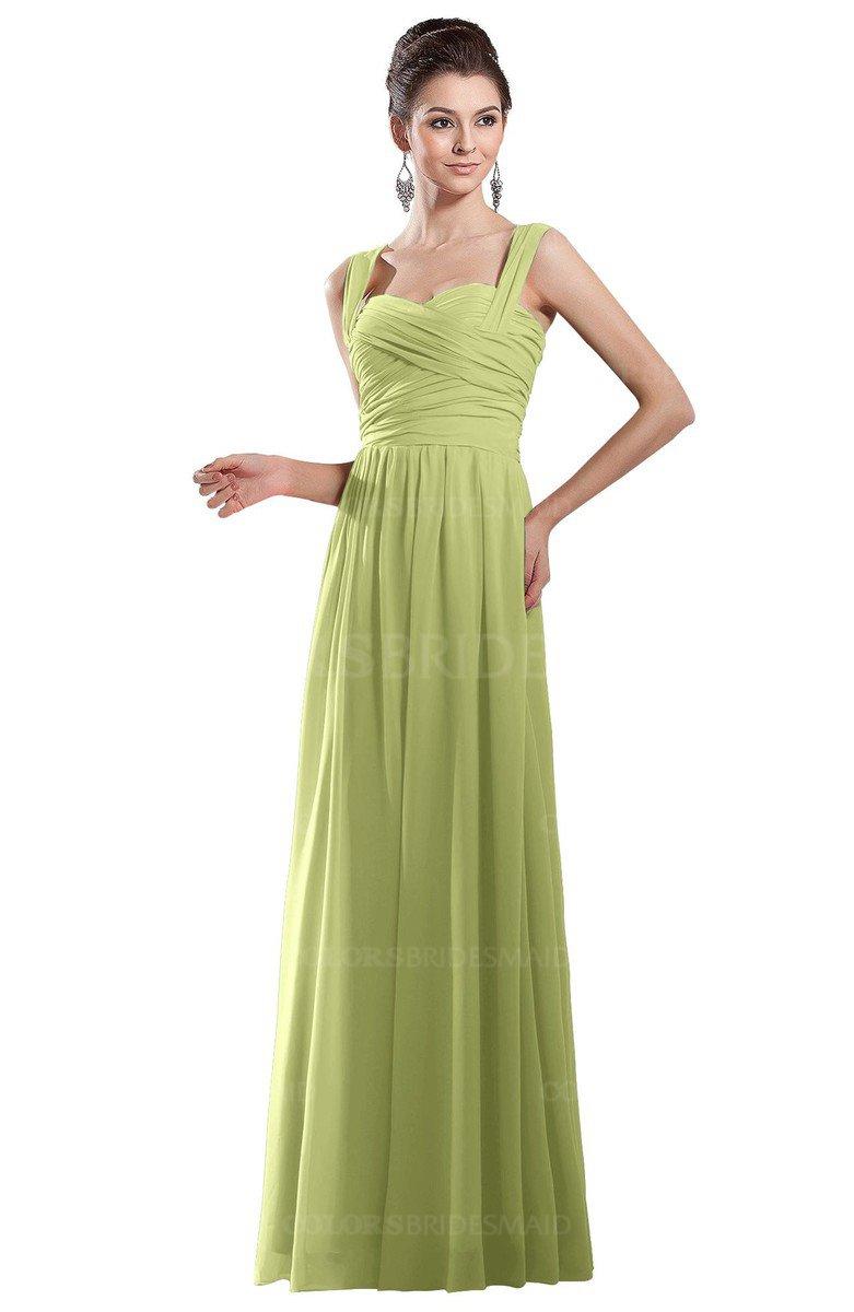 ColsBM Alena Lime Green Simple A-line Sleeveless Chiffon Floor Length Pleated Evening Dresses