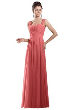 7c42eb345f14 ColsBM Alena Coral Simple A-line Sleeveless Chiffon Floor Length Pleated  Evening Dresses