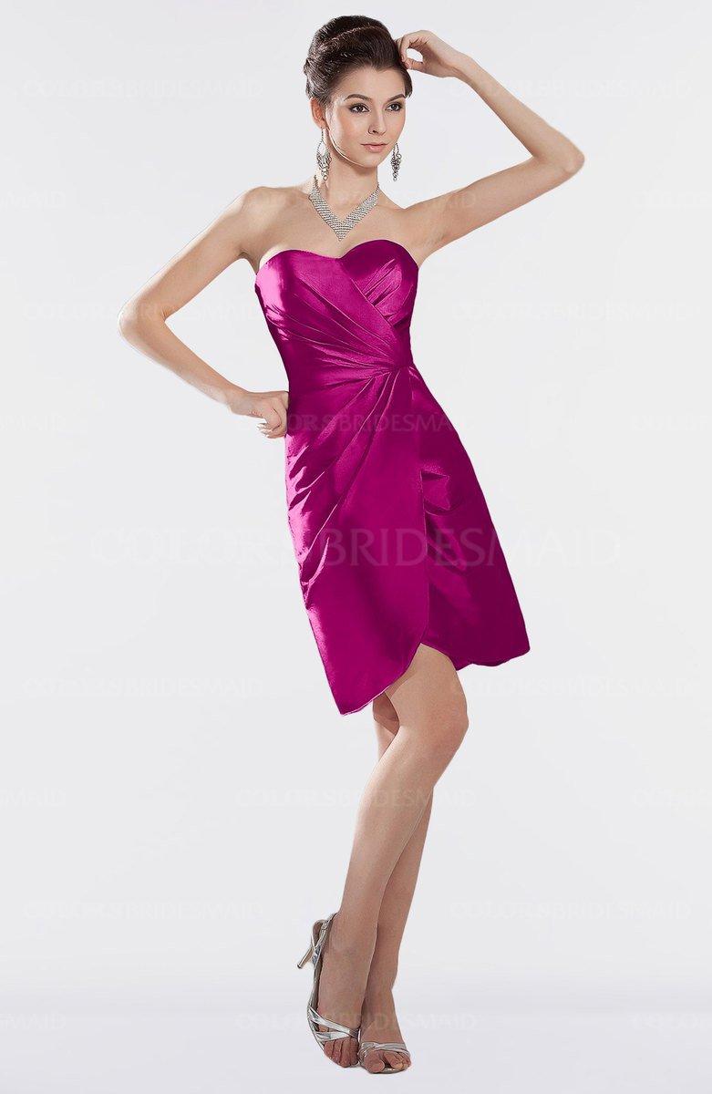 35518c39fee ColsBM Edith Hot Pink Elegant Sweetheart Sleeveless Zipper Short Ruching Bridesmaid  Dresses
