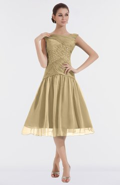 Sweetheart Knee Length Dress Gold