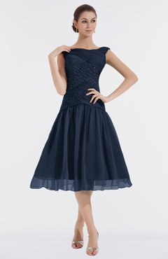 Colsbm Alissa Navy Blue Cute A Line Sleeveless Knee Length Ruching Bridesmaid Dresses