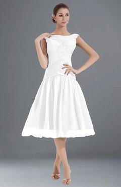 ColsBM Alissa White Cute A-line Sleeveless Knee Length Ruching Bridesmaid Dresses