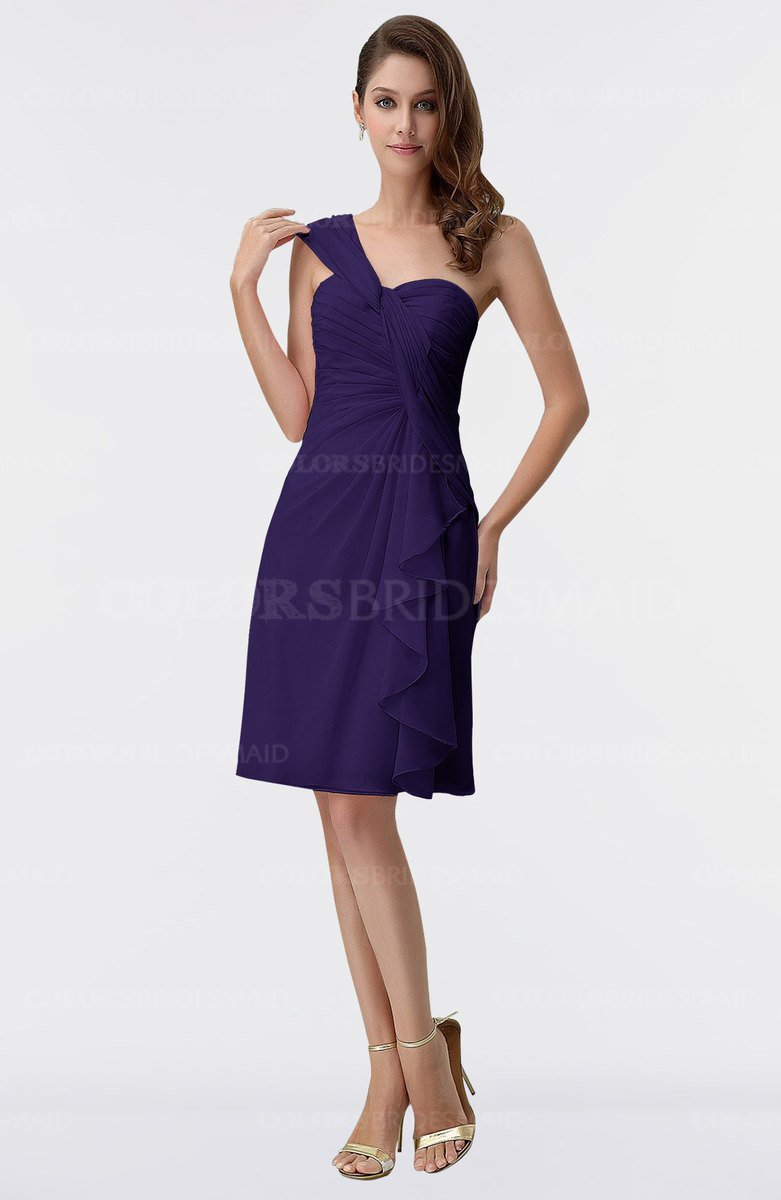 8b3f3e171ed ColsBM Harmony Royal Purple Cute Sheath One Shoulder Sleeveless Knee Length  Little Black Dresses
