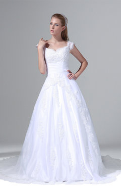 ColsBM Alyssa Cloud White Glamorous Garden Scalloped Edge Sleeveless Lace up Chapel Train Bridal Gowns