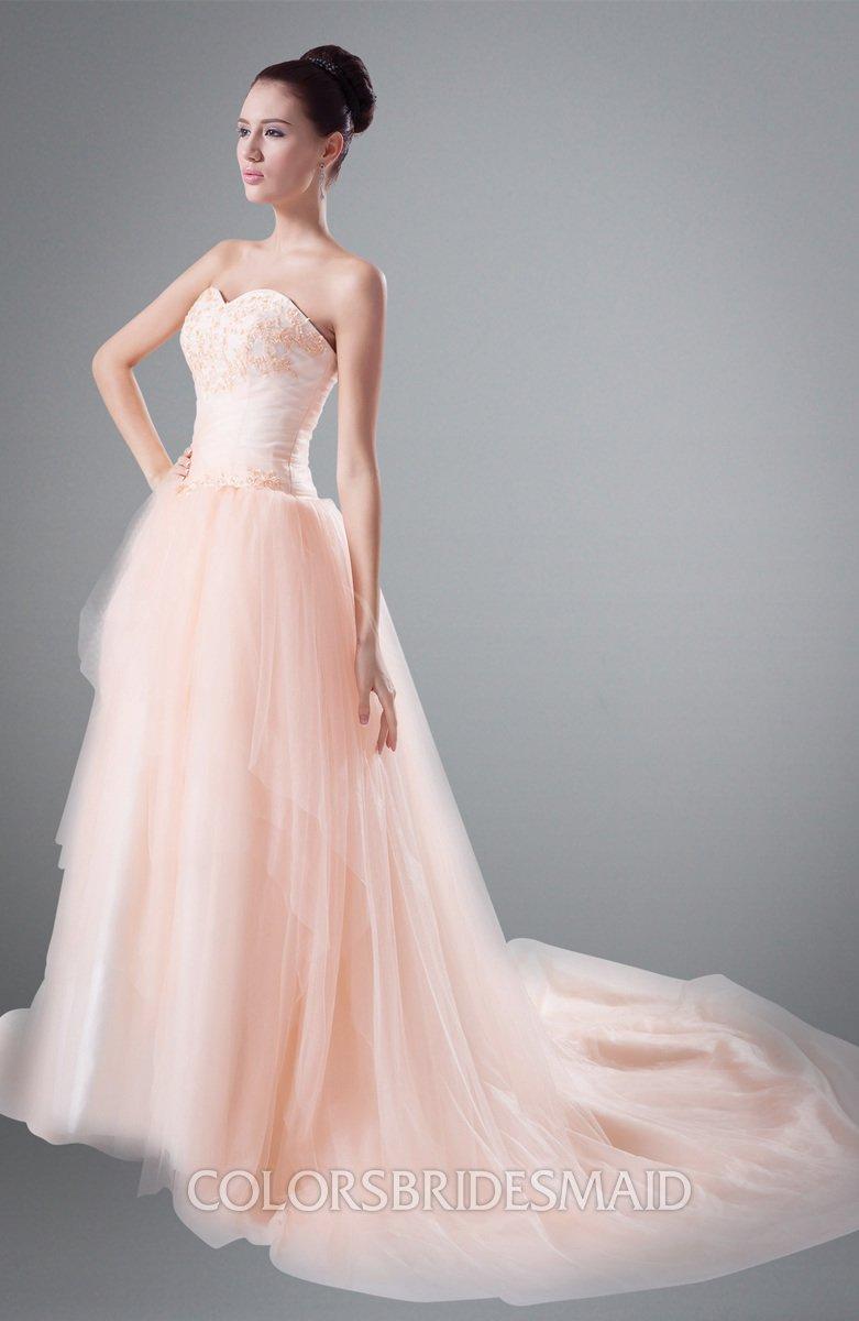 Colsbm Aurelia Salmon Cinderella Outdoor Sweetheart Sleeveless Chapel Train Ruching Bridal Gowns: Salmon Pink Wedding Dress At Websimilar.org