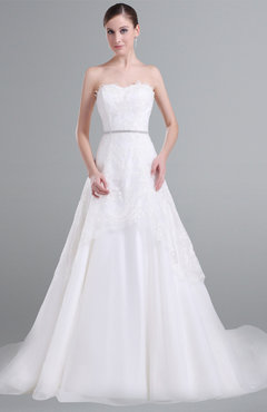 ColsBM Lyla White Romantic Beach A-line Sleeveless Satin Court Train Sash Bridal Gowns
