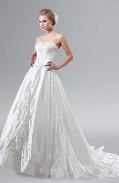 ColsBM Iliana White Glamorous Garden Fit-n-Flare Strapless Sleeveless Criss-cross Straps Chapel Train Bridal Gowns