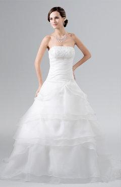 ColsBM Celeste White Cinderella Church A-line Sleeveless Zip up Floor Length Plus Size Bridal Gowns