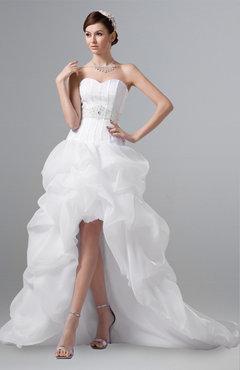 2774370ba9e6 ColsBM Aniya White Modern Hall A-line Sweetheart Sleeveless Zip up  Rhinestone Plus Size Bridal