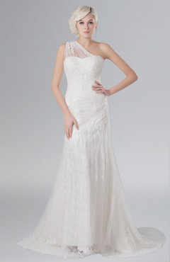 86a7ac50b0ef ColsBM Athena Cream Plain Outdoor A-line One Shoulder Sleeveless Brush Train  Lace Bridal Gowns